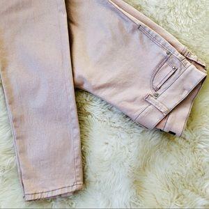 WHBM Skinny leg Pale pink shimmer neutral jeans